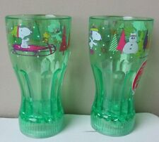 Snoopy Peanuts Christmas Winter Glass LED Lights Up Coolites Green New