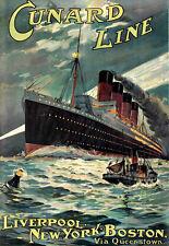 Cunard Line  Liverpool New York  Boston  Lusitania Ship  Travel  Poster Print