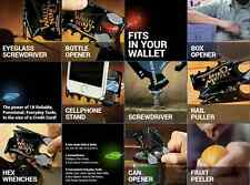 WALLET NINJA 18 TOOLS in 1 POCKET MULTI TOOL BOTTLE OPENER SCREWDRIVER CUTTER
