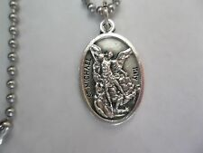 St Michael Archangel Medal Stainless Steel Chain Necklace + FREE Prayer Card