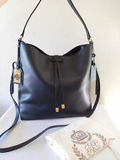 New RALPH LAUREN Crawley Hobo Black Leather Tote Shoulder, Handbag!