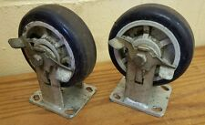 "6"" x 2"" Front Locking Castor Wheel - Set of 2"