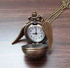 Antique Bronze Harry Potter Golden Snitch Watch Clock Necklace Pendant - New