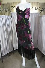 ~ Betsey Johnson ~ Vintage Silk / Burnout Velvet Asymestrical Fringe Dress sz 8