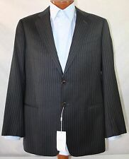 New Armani Collezioni Gray Striped Wool 2-BT Jacket 42R EU52R
