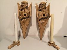 Gothic Menacing Bat Winged Gargoyle Wall Sconces Medieval Candle Holders Signed!