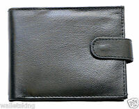 Mens High Quality Soft Black Leather Wallet With Id Window & Zip Coin Pocket 94