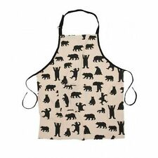 Hatley Cotton Bib Chef's Apron BLACK BEARS ON NATURAL w/ Pocket Barbecue Unisex
