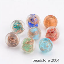 20pcs Mixed Color 12mm Round Handmade Lampwork Beads Gold Sand Bead Craft Making