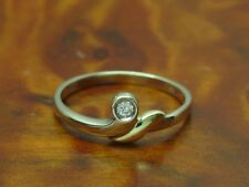 14kt 585 BICOLOR GOLD RING MIT BRILLANT SOLITÄR BESATZ / BRILLANTRING