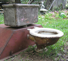 ANTIQUE PRIMITIVE CAST IRON PORCELAIN TOILET BOWL WOOD BOX PLUMBING BATH GARDEN