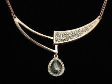 trends clear crystal collar design pendant teardrop gold plated necklace F59