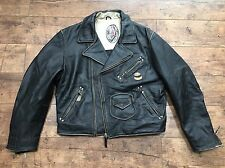Men'S DIESEL Flying COUGAR Harley Davidson Biker in Pelle Nera Giacca Medium