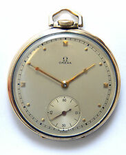 Early 1940's Omega Solid 14K Gold 14S Open Face 17J Pocket Watch 43g