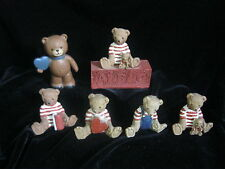 "COLLECTION OF 5 SITTING & 1 STANDING BEARS  - COMPOSITE RESIN - UP TO 3.5"" TALL"