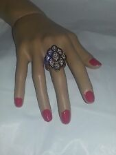 ANTIC GOLD FASHION STRETCH BLACK AND CLEAR RHINESTONE COCKTAIL RING