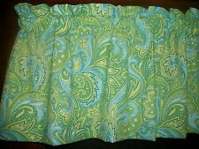 Blue Lime Green Yellow Paisley cotton fabric window curtain Valance