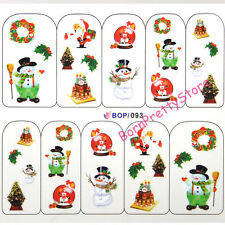 Nail Art Water Decals Transfer Stickers Christmas Trees Cake Snowman Decoration