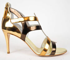 Giuseppe Zanotti Gold Spectrum Zip Up Gladiator Heels Pumps EU 37 US 6.5 $775