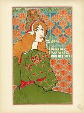 """""""JANE"""" Litho originale entoilée L'ESTAMPE MODERNE Louis RHEAD 1897 34x44cm"""
