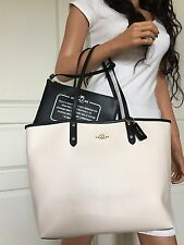 NWT COACH SEXY BLACK WHITE REVERSIBLE LEATHER SHOULDER TOTE BAG PURSE HANDBAG