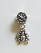 1 Metal Dark Antique Silver Dangle Spider Charm - Fits European/ Charm Bracelet