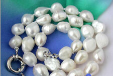 "New huge Baroque 14x16mm WHITE FRESHWATER CULTURED PEARL NECKLACE 18"" AAA"
