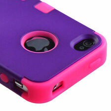 For iPhone 4 4S Rubber IMPACT TUFF HYBRID Case Skin Phone Cover Purple Pink