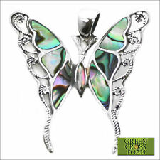 .925 Solid Sterling Silver Abalone Swallowtail Butterfly Papillon Pendant P025