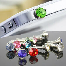 10 x Bling Diamond 3.5mm Earphone Anti Dust Plug Cap Stopper For iPhone 6 5 4 S
