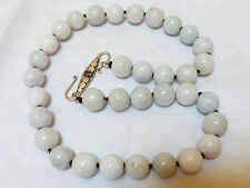 CHINESE NATURAL Lavender JADE 13.5mm BEAD NECKLACE STERLING CLASP, 141 grams
