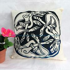 US SELLER - cool decorative pillows Celtic dogs knotwork cushion cover dark blue