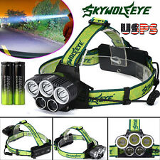 Rechargeable 25000LM 5x XM-L T6 Headlamp Headlight Head Light LED USB Battery