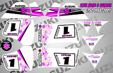 suzuki lt50 quad graphics stickers decals name & number mx laminate vinyl pink