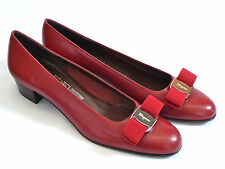Ferragamo Red Leather Classic Bow Pumps Vara 7.5AAAA Extra Narrow Silver Buckle