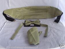 GROSGRAIN Page Boy-Children Green Gold Polyester Bow tie+Cummerbund & Hankie Set
