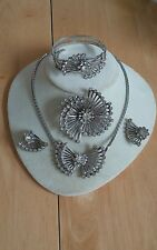 Vintage Coro Rhinestone Necklace Bracelet Earrings pin brooch fan earrings Set