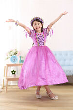 Rapunzel Kids Girls Princess Christmas Party Dress Tangled Cosplay Costume 6-7T