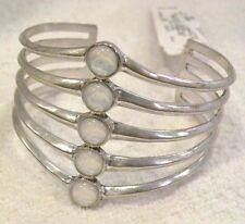 LUCKY BRAND SILVER CUFF BRACELET 5 WHITE MOONSTONE STONES, NWT $45!
