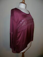 JS Millenium silk mix burgundy top size 14 Made in Italy