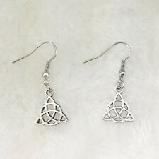 1 pair Tibetan silver triquetra trinity celtic knot pagan Pendant earrings