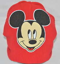 """Disney Mickey Mouse Hat Ski Cap Child Toddler Beanie Red Black 15"""" Circumference"""