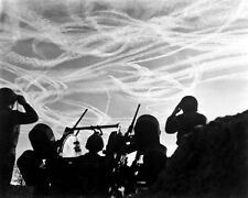 New 8x10 World War II Photo: M-51 Battery GIs Watch German Aircraft Vapor Trails