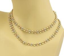 "Estate Double Row Disco Bead 14k Tri-Color Gold Chain Necklace - 30"" Long"