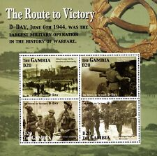 WWII Route To Victory/D-Day Landings & German Defences Stamp Sheet (2005 Gambia)