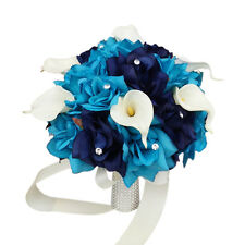 """10"""" Bouquet: Malibu Turquoise Eggplant Silk roses real touch calla lily"""