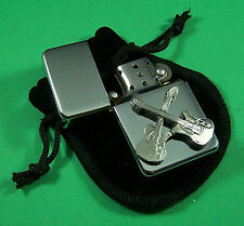CROSSED GUITARS Petrol Lighter in Pouch Free UK Post Telecaster Status Quo