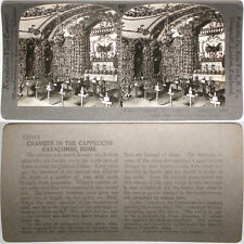 Keystone Stereoview of Cappuccini Catacombs, Rome, ITALY From RARE 1200 Card Set