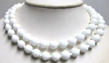 Vintage 50's Milk Glass Crystal Bead Necklace Multi 2 Strand White