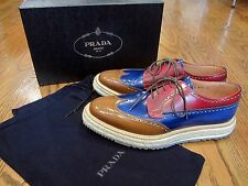 PRADA Mens Espadrille Platform Brogue Shoes Blue Red Brown Size 8 (9/9.5 US)